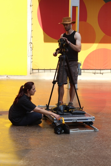 """Andreia and Luke get to """"grips"""" with the dolly and tracks."""